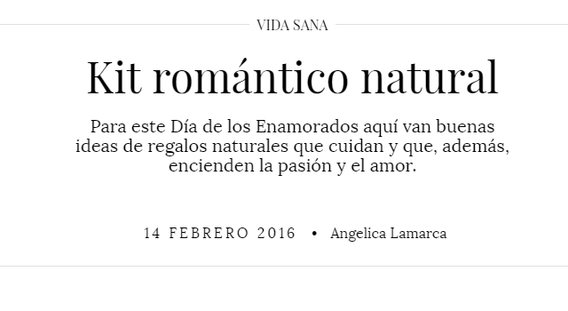 Revista Mujer - Kit romántico natural