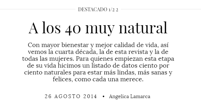Revista Mujer - A los 40 muy natural