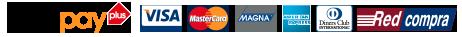 Paga con Webpay Transbank, Mastercard, Visa, American Express, Redcompra